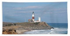Montauk Lighthouse View From Camp Hero Beach Towel