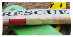 Beach Towel featuring the photograph Montauk Rescue Boards by Art Block Collections