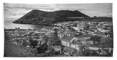 Monte Brasil And Angra Do Heroismo, Terceira Island, Azores Beach Sheet by Kelly Hazel