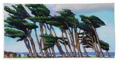 Monterey Cypress Row  Beach Towel