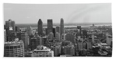 Montreal Cityscape Bw Beach Towel