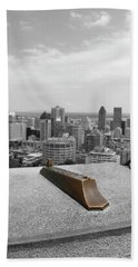 Montreal Cityscape Bw With Color Beach Sheet