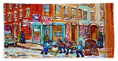 Montreal Storefront Paintings Debullion Street Hockey Art Quebec Winterscenes C Spandau Canadian Art Beach Towel