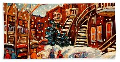 Montreal Street In Winter Beach Sheet by Carole Spandau