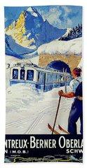 Montreux, Berner Oberland Railway, Switzerland, Winter, Ski, Sport Beach Towel