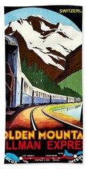 Montreux, Golden Mountain Railway, Switzerland Beach Towel