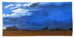 Beach Sheet featuring the painting Monument Valley Clouds by LaVonne Hand