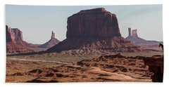 Monument Valley Man On Horse Sunrise  Beach Sheet