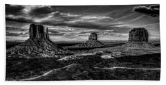 Monument Valley Views Bw Beach Towel
