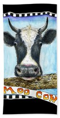 Beach Towel featuring the drawing Moo Cow In Black by Retta Stephenson