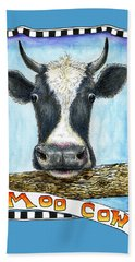 Beach Towel featuring the drawing Moo Cow In Blue by Retta Stephenson