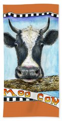 Beach Towel featuring the painting Moo Cow In Orange by Retta Stephenson