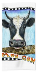 Beach Towel featuring the painting Moo Cow by Retta Stephenson