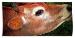 Beach Towel featuring the photograph Moo - Jersey Cow by Janine Riley