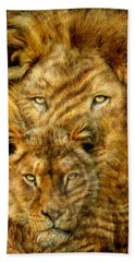 Beach Towel featuring the mixed media Moods Of Africa - Lions 2 by Carol Cavalaris