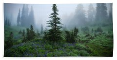 Moody Myrtle Falls Trail At Mount Rainier Beach Towel