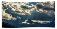 Moody Sunrays Over Glacier National Park Beach Towel