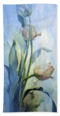 Beach Towel featuring the painting Moody Tulips by Hanne Lore Koehler