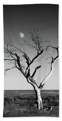 Moon And Memory At Bosque Del Apache N M Beach Sheet by Mary Lee Dereske