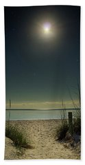 Moon And Stars Over Beach Beach Towel by Greg Mimbs