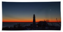Moon And Venus - Headlight Sunrise Beach Towel
