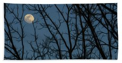 Moon At Dusk Through Trees - Impressionism Beach Towel