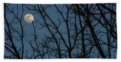 Moon At Dusk Through Trees - Impressionism Beach Sheet