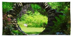 Moon Gate At Kinney Azalea Gardens Beach Towel by Catherine Gagne
