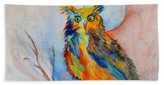 Moon Magic Owl Beach Towel by Beverley Harper Tinsley