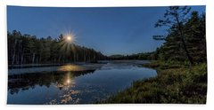 Beach Towel featuring the photograph Moon On North Pond Road by Tom Singleton