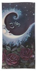 Moon Over Bed Of Roses Beach Towel