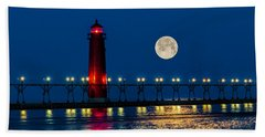Moon Over Grand Haven Beach Towel