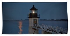 Beach Towel featuring the photograph Moon Over Marshall Point by Rick Berk