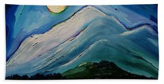 Moon Over Pioneer Peak Beach Towel