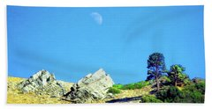 Beach Towel featuring the photograph Moon Over Ray's Perch by Timothy Bulone