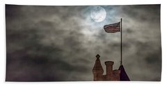 Moon Over The Bank Beach Towel by Rob Graham