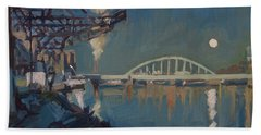 Moon Over The Railway Bridge Maastricht Beach Towel