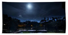 Moon Over The River Beach Towel