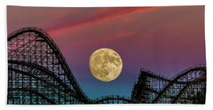 Moon Over Wildwood Nj Beach Towel by Nick Zelinsky