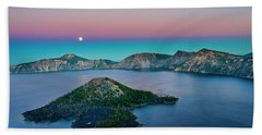 Moon Over Wizard Island Beach Towel
