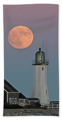 Moon Rise Over Scituate Beach Towel