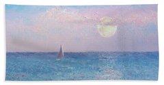 Moon Rise Sailing Beach Towel