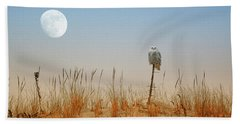 Moon Rise Snowy Owl Beach Towel