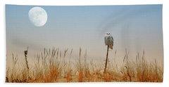 Moon Rise Snowy Owl Beach Sheet