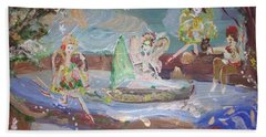 Moon River Fairies Beach Sheet by Judith Desrosiers