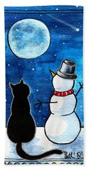 Moon Watching With Snowman - Christmas Cat Beach Sheet