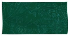 Moonfish Drawing Negative Green Chalk Beach Sheet