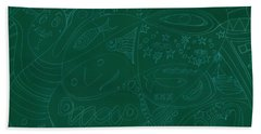 Moonfish Drawing Negative Green Chalk Beach Towel