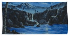Beach Towel featuring the painting Moonlight And Waterfalls by Darice Machel McGuire