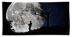 Moonlight Fishing Under The Supermoon At Night Beach Towel by Justin Kelefas